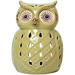 "Hosley Green Ceramic Owl Tealight Holder- 7"" High. Ideal Gift for Wedding, Party, spa, Reiki etc, Tea Light P2"