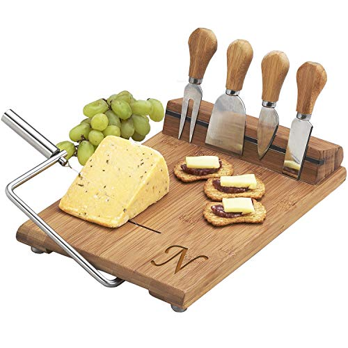 Picnic at Ascot Personalized Bamboo Board with Wire Cheese Slicer - 4 Stainless Steel Tools & Cheese Markers - 12