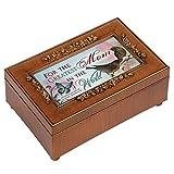 Greatest Mom Rich Walnut Finish Petite Jewelry Music Box - Plays Amazing Grace