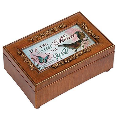 Greatest Mom Rich Walnut Finish Petite Jewelry Music Box - Plays Amazing ()