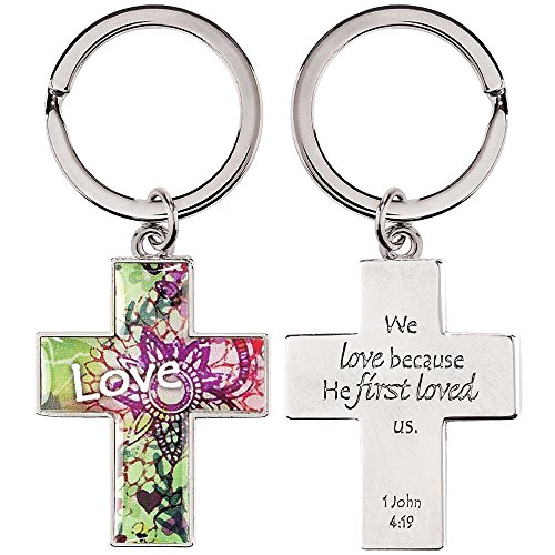 Love Because He First Loved Us 1 John 4:19 Cross Christian Key Ring Keychain ()