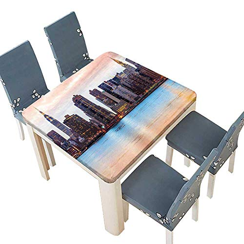 PINAFORE Spillproof Fabric Tablecloth Manhattan Skyline Midtown View from The Lake USA American City Artsy Picture Peach Kitchen Decoration Washable 41 x 41 INCH (Elastic Edge)]()