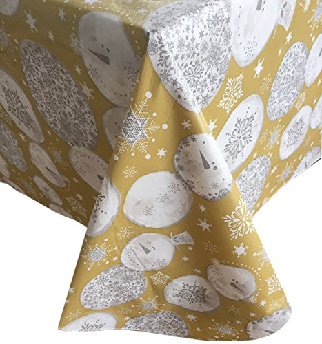 Gold Snowman Snowflake Contemporary Flannel Back Vinyl Christmas Tablecloth, (60 Inch x 84 Inch Oval) (Tablecloths Vinyl Christmas)
