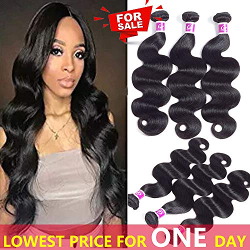 azilian Body Wave Hair 3 Bundles Remy Human Hair Weave Wavy 100% Unprocessed Virgin Hair Extensions Natural Color 10 10 10 inch ()