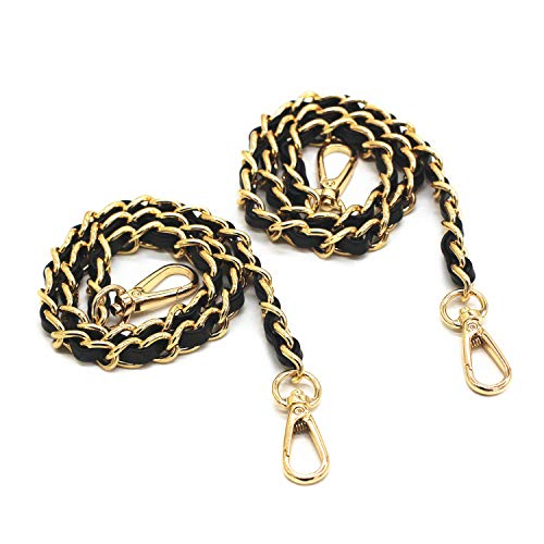 "Model Worker 2-Pack 1/2"" Wide 23.6"" Leather Iron Flat Chain Strap Handbag Chains Accessories Purse Straps Shoulder Replacement Straps with Metal Buckles (Black Strap+Gold Chain)"