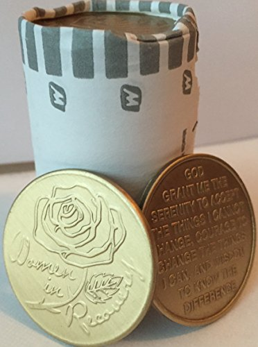 Bulk Lot of 25 Women In Recovery Rose Bronze Medallions Serenity Prayer Chips from wendells