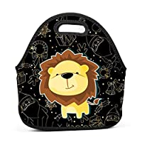 Smile Cute Lion Insulated Neoprene Lunch Bag for Men Women and Kids - Reusable Soft Lunch Box for Work and School Water-Resistant 3D Printed