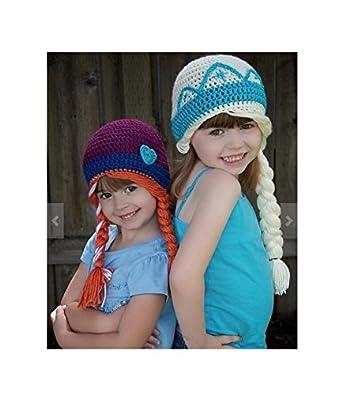 3a70a329ab8 Cute Girl Handmade Winter Princess Elsa and Anna Toddler Baby Crochet Hat  (L