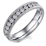 Best Flongo Wedding Ring Sets - Flongo Hers Silver Stainless Steel Sparkling Pave Clear Review