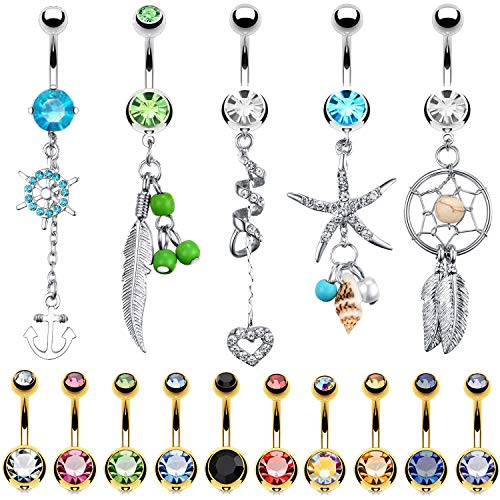 BodyJ4You 15 Belly Button Rings Dangle Barbells 14G Goldtone Steel Clear CZ Navel Body Jewelry