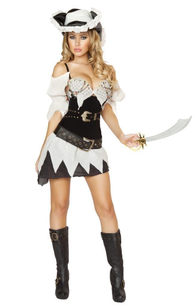Sexy Cinched Waist Pirate Girl Halloween Costume
