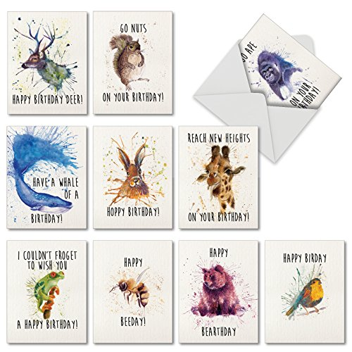 M2954BDB Wildlife Expressions : 10 Assorted Blank Birthday - Mini Notecards With Envelopes