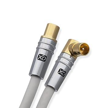 XO- Cable coaxial aéreo 3m de macho a macho blindado TV/AV con 90