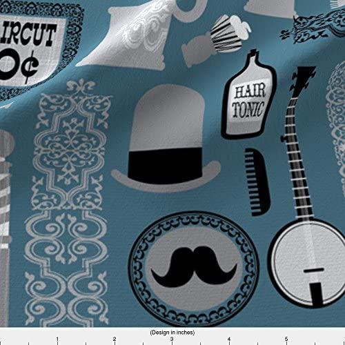 Den Man Cave Bathroom Mustache Barber Shop Fabric Printed by Spoonflower BTY
