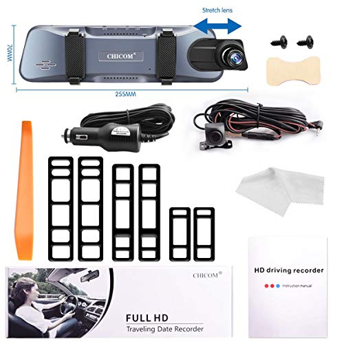 Mirror Dash Cam 9.66'' Dual Lens Full Touch Screen Stream Media Rear View Mirror Camera Made of Aluminum Alloy, 1080P 170°Front and 1080P 140°Backup Camera with Parking Monitor and G-Sensor by CHICOM (Image #6)