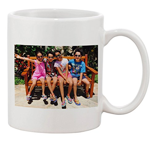 Personalized Add Your Custom Text and Photo White Ceramic 11 Oz Coffee Mug Customizable Gift ()