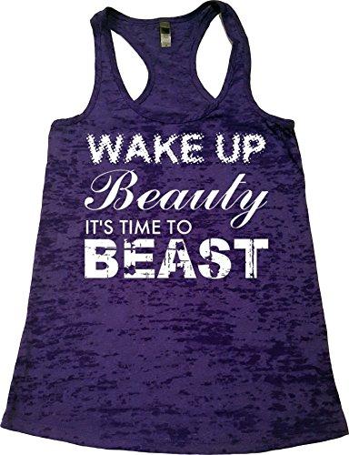 Orange Arrow Womens Workout Clothing (L, Rush) - Wake up Beauty Time to Beast - Fitness TankTop