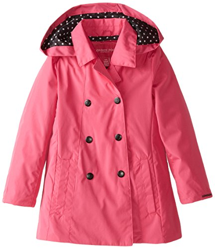 London Fog Little Girls' Double Breasted Solid, Fuchsia, 4