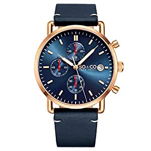 SO & CO NY Tribeca 5513 Men's Chronograph Gold Case Blue Genuine Leather Strap Date 3 ATM Quartz Wrist Watch (Blue)