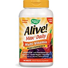 Nature's Way Alive! Max3 Daily Adult Multivitamin, Food-Based Blends (1,060mg per serving) and Antioxidants, No Iron Added, 180 Tablets
