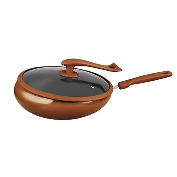 Olla de vacío antiadherente antiadherente del hogar de la cocina del hogar del hierro de Corea 32 cm antiadherente detrás Pote del vuelo,Gold: Amazon.es: ...