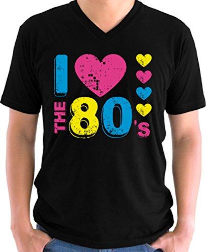 Vizor Men's I Love The 80's Graphic V-neck T shirts Tops 80s Party 80s Costume 80s Disco Black (Bowie Costume Ideas)