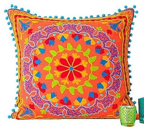 Amazon.com: Suzani – naranja hecha a mano cojín indio manta ...