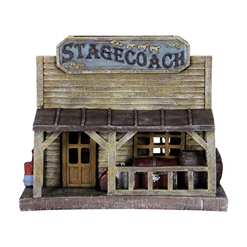 (Exhart Old West Stagecoach House Statue - Resin Garden Statue of an American West Stagecoach House with Solar-Powered Lights, Best as Wild West Theme Home Outdoor Decorations, 7.5