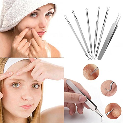 Professional-Surgical-Blackhead-Remover-Tools-2018-Blemish-and-Splinter-Acne-Pimple-Removal-Kit-Come-Done-Extractor-Tool-for-Whitehead-Pimples-and-Zit-Popper-Leather-Case-with-Mirror-Pack-of-6