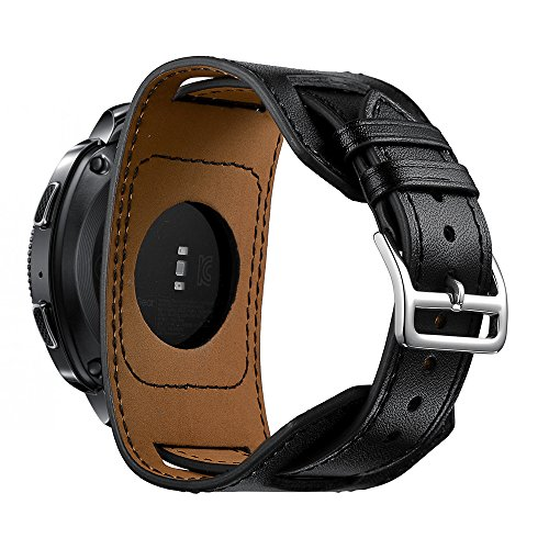 for Samsung Gear Sport Bands,20mm Quick Release Genuine Leather Cuff Wrist Watch Band Replacement Strap for Gear Sport Watch Band-Black(Small/Thin Wrist Size:5.5-7.48inches (140-190mm))
