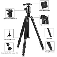 Camera Tripod, KetDirect Black/Blue Aluminium Compact Portable Lightweight Professional Camera Tripods For Cameras monopod With 360 Degree Ball Head and Carry Case For Canon Nikon Sony Olympus DSLR Cameras … from KetDirect