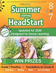 Summer Learning HeadStart, Grade 7 to 8: Fun Activities Plus Math, Reading, and Language Workbooks: Bridge to