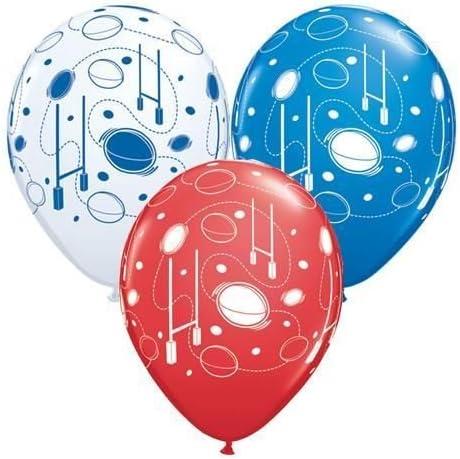 "10 x Rugby Balls /& Posts 11/"" Qualatex Latex Balloons"