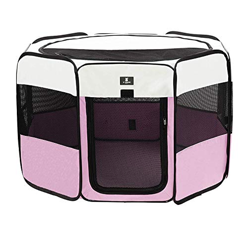 X-ZONE PET Portable Foldable Pet Dog Cat Playpen Crates Kennel/Premium 600D Oxford Cloth,Removable Zipper Top, Indoor and Outdoor Use