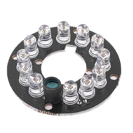 eDealMax Rojo Infrarrojo 12 LED Bombillas 80 Grado IR Junta Para cámaras de seguridad