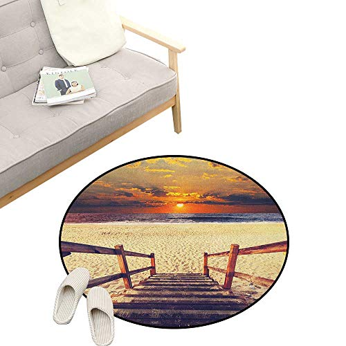 Beach Non-Slip Round Rug ,Stairs Lead to The Beach with Dramatic Horizon Scenery Magic Skyline Solitude Print, Washable Living Room Bedroom Kids 31