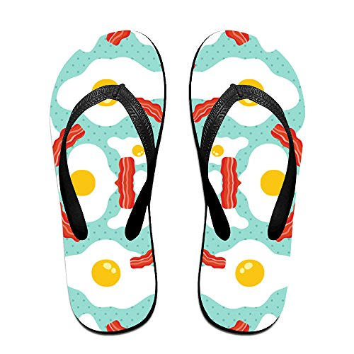 b3912d9df5b492 Egg Bacon Pattern Unisex Fashion Beach Slipper Indoor And Outdoor Classical  Flip-Flop Thong Sandals