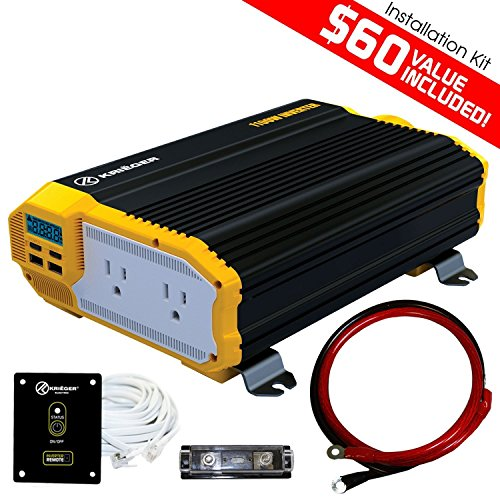 KRIËGER 1100 Watt 12V Power Inverter Dual 110V AC Outlets, Car Inverter Installation Kit Automotive Back Up Power Supply For Blenders, Vacuums, Power Tools. MET Approved To UL and CSA