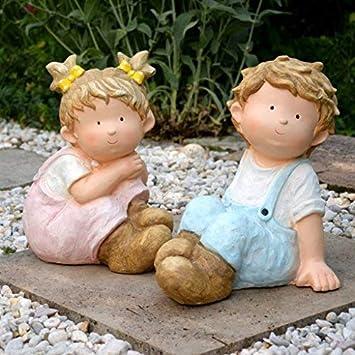 Intrendu Garten Deko Figuren Junge Und Mädchen Im Set 31cm Gartendekoration Frühling Wohnung Gartenzwerg Groß Oma Geschenk