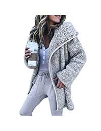 Pervobs Women Solid Coat Sweater Long Sleeve Full Zip Hoodies Cardigan Coat Outwear
