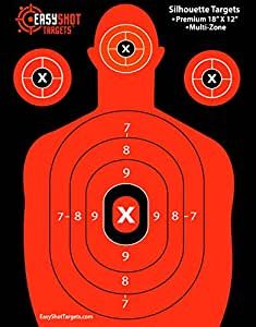 """EASYSHOT SILHOUETTE TARGETS For Shooting, High-Visibility Fluorescent Orange, Easy to See Your Shots Land, Heavy-Duty Paper Sheets 18"""" X 12"""" - 150 Free Repair Stickers, Close To Wholesale Prices!"""