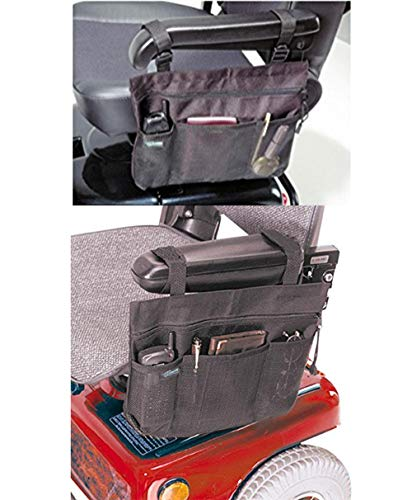 Wheelchair Side Bag, Scooter Arm Tote, Hands Free Armrest Pouch Organizer Storage Accessories for Scooter, Electric, Manual or Powered Chairs