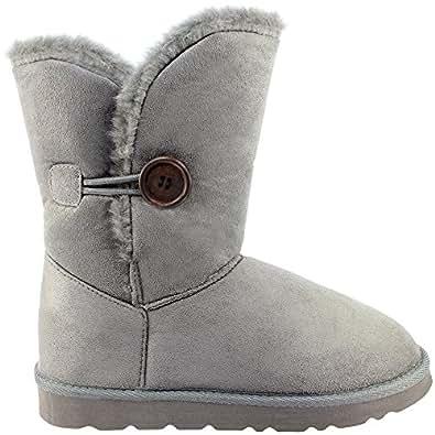 Womens Single Button Short Classic Fur Lined Winter Rain Snow Boots - Grey - 5 - 36 - AEA0080
