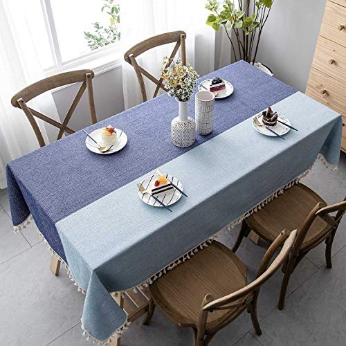 Mokani Washable Cotton Linen Two-Color Tablecloth with Tassels, Rectangle Table Cover Great for Kitchen Dining Table Top Buffet Decoration (55 x 94 Inch) (Linen Tablecloth Oilcloth)