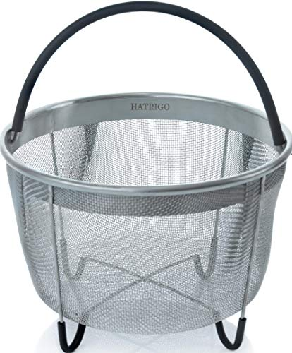Hatrigo Steamer Basket for Instant Pot Accessories 6 qt [3qt 8qt Avail] fits InstaPot, Ninja Foodi, Other Pressure Cookers, Strainer Insert for Insta Pot Ultra, Silicone Handle, for Instant Pot 6 Qt by Hatrigo