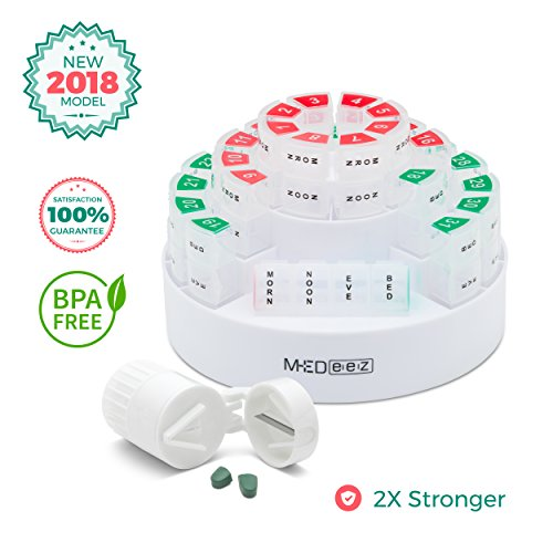 sign- Monthly Pill Organizer 31 Day Pill Box with 4 Time of Day Compartments Bonus Pill Crusher and Pill Splitter by MEDeez ()