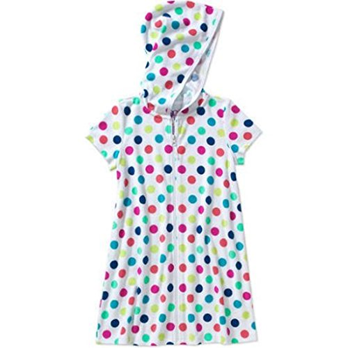 Op Girls Terry Hooded Swimsuit Cover Up (Extra Small 4-5, Arctic White Multi)