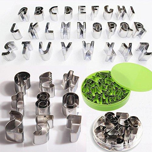 SunJas Alphabet Buchstaben Zahlen Metall-Ausstechformen zum Backen, zur Tortenverzierung Glasur, Fondant (Alphabet A-Z+Zahlen 0-9 _35x Set)