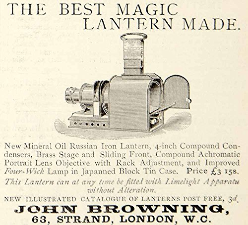 1885 Ad John Browning Magic Lantern Projector Victorian Laterna Magica YNM4 - Original Print Ad