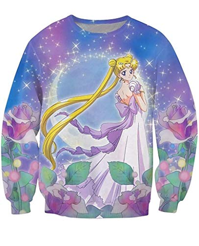 Acccity Sailor Moon Princess Crewneck Sweatshirt Pullover Unisex (Sailor Moon, ()